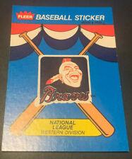 1989 Fleer Baseball Sticker Card Atlanta Braves Chief Noc-A-Homa 80's RETRO LOGO