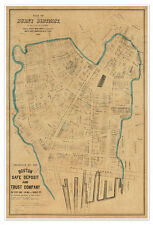HUGE BOSTON Burnt District MAP (Great Fire) circa 1872 - Vintage Reprint Poster