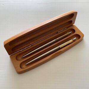 Parker Pen & Pencil Set in Wooden Case Holder PEN NEEDS NEW INK REFILL Jotter SS