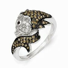 Cheryl M Sterling Silver & Cubic Zirconia Fish Ring Size 8 #1047