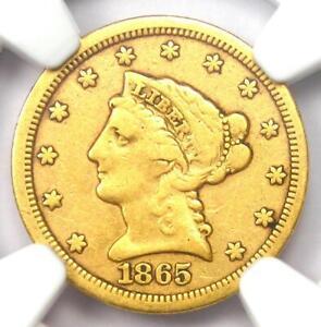 1865-S Liberty Gold Quarter Eagle $2.50 - Certified NGC Fine Details - Rare!