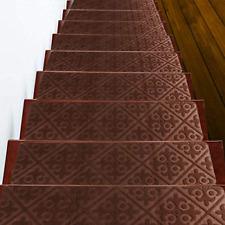 "15 PCS Non Slip Stair Treads Carpet, 8"" X 30"" Indoor Pre Applied Adhesive Skid"