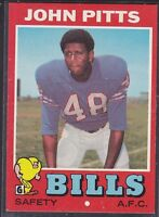 1971  JOHN PITTS - Topps Football Card- # 163 - BUFFALO BILLS