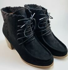 Womens Black Suede Lace Up Ankle Boot Size 8W