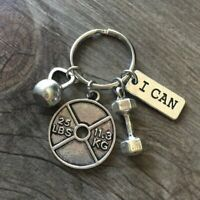 25lb WEIGHTLIFTING I Can Keychain Dumbbell Charm Pendant Gym Kettlebell Crossfit