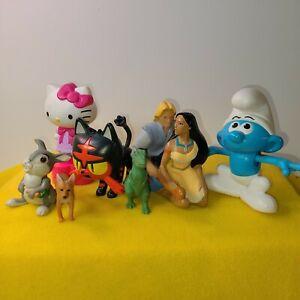 Small Lot Plastic Toys Pocahontas, Smurf, Hello Kitty, Pokemon