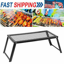 22*12*7 in Camping Grill Adjustable Camp Fire Cooking Grate Outdoor Bbq Stove Us