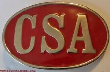 CSA BELT BUCKLE -  RED AND SILVER COLORS - CONFEDERATE