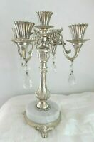 VINTAGE FRENCH FARMHOUSE HOLLYWOOD REGENCY  MARBLE SILVER PRISM CANDELABRA