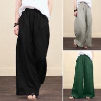 ZANZEA Women Business Casual Formal Wide Leg Pants High Waist Trousers Culottes
