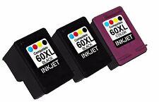 3PK FOR HP60XL CC641WN CC644WN DESKJET F4500 F4580 ENVY 100 BLACK&COLOR