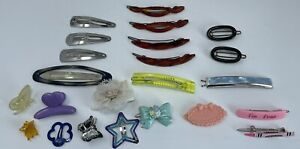1980s Hair Clip Snap Barrettes Goody I Luv You Crayon I'm Four Bow Star Metal
