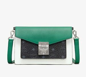 $995 MCM Patricia Green/Black Leather Small Crossbody Bag MWR9APA27BM001