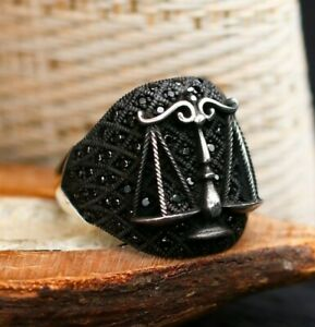 Scales of Justice Solid 925 Sterling Silver Black Zircon Men's Ring