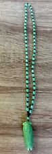 Fashion Jade Cicada Carved Amulet Lucky Pendant Beads Necklace 26 Inch