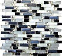 Glasmosaik weiß/grau/schwarz mix Wand Küche Bad WC Art:WB87-IL007  1 Matte