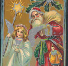 ANGEL LEADS FATHER CHRISTMAS WITH STAR,ORIENTAL PUPPET DOLL,SANTA OLD POSTCARD