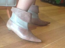 BONBONS perforated/laser cut leather ankle boots in camel colour, size 37