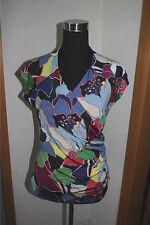Mehrfarbige Damen-T-Shirts mit V-Ausschnitt aus Viskose