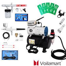 Voilamart Dual Action Air Brush 5/7/22cc Compressor 1/6HP Spray Gun Set