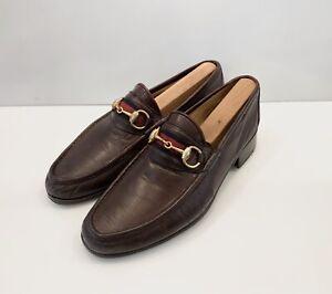 Men's Gucci Loafers Shoes Web Horsebit Sz 42 Brown