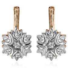 14k Solid Rose & White Gold Russian Vintage Style Diamond earrings .50ct