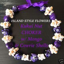 Hawaii Wedding Kukui Nut Lei w/ Cowrie Shell Graduation Luau CHOKER-Purple