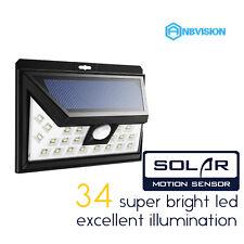 Anbvision 34LEDs Solar Powered PIR Motion Sensor Outdoor Garden Security Light