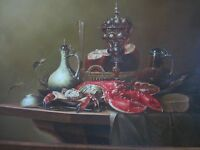 Henri signed lobster and crab oil on board painting MINT condition!