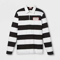 Hunter For Target Mens' Striped Polo Rugby Long Sleeve Shirt White Black XL