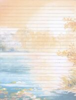 Sunset On A Pond Lined Stationery Writing Paper Set, 25 sheets & 10 envelopes