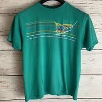 St Thomas Virgin Islands sz L Teal Green Wind Surfing Vtg Single Stitch Hanes