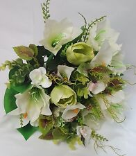 ARTIFICIAL FLOWERS MIXED BUNCH LILY AND TULIP CREAM AND GREEN 45CM LONG 24 STEMS