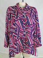NY Collection NEW Pink Blue White Long Sleeved Sheer Buttoned Blouse Plus 1X 14W