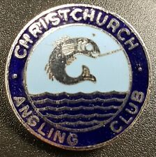 Fishing; Vintage Christchurch Angling Club Enamel Pin Badge