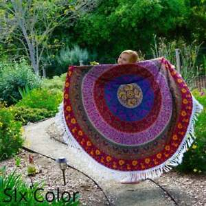 Mandala Cotton Tablecloth Blue Round Tapestry Yoga Mat Hippie Beach Throw