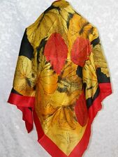 New Original Painting Silk Scarf - Golden Autumn Leaves