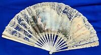 Antique Victorian French Figural Gold Gilt Fan Carved Mother Of Pearl Cherub