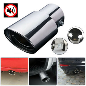 Stainless Auto Car Exhaust Trim Tip Muffler Pipe Silver Chrome Tail Throat Pipe