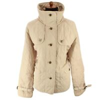 Talbots Womens Quilted Jacket Oversize Collar Lightweight Beige Sz Medium