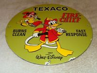 "VINTAGE TEXACO FIRE CHIEF GASOLINE MICKEY MOUSE 11 3/4"" PORCELAIN METAL OIL SIGN"