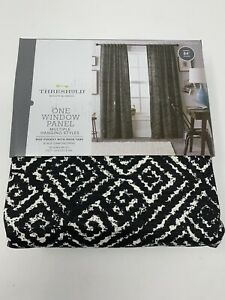 2 Threshold Aztec Diamond Print Woven Curtain Drapes Panel Black & White 54x84