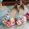 Womens Pointy Toe Transparent Stilettos High Heel Floral Shoes Pump Sandals Flat
