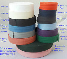 32mm 14COLOR Cotton Herringbone Upholstery Bias Apron edging sewing Bunting TAPE