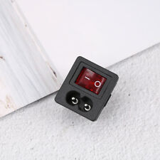 Power cord inlet socket receptacle with ON-OFF red light rocker'switch 250V NWUS