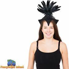 Burlesque Headpiece Black Hat Headband Feathers Ladies Fancy Dress Accessory