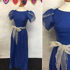 SIZE 6 - VINTAGE BLUE & WHITE DISCO MAXI DRESS ORGANZA PROM 1970s CINDERELLA