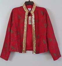 NWT Chico's Red 100% Silk Bravo Oberoi Jacket Size 1 (S/M) MSRP $128