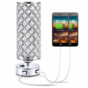 Modern USB Crystal Table Lamp Bedside Light Lighting Home Bedroom Desk Lamp