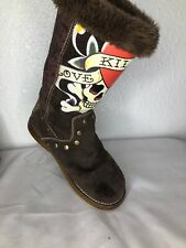 Mid Calf Boots Ed Hardy Women's Love Kills Slowly Brown Suede Skull Print Sz. 7